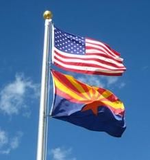 USA and Arizona State Flag